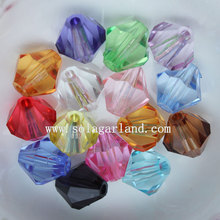 Clear acrylique facettes Bicone Spacer Pony Beads