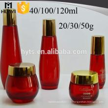 bocal en verre coloré pour la crème pour le visage, bouteille de crème pour le visage avec capuchon en or