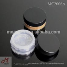 Tamis rotatif Poubelle en poudre / récipient en poudre libre / Emballage cosmétiques de luxe / récipients cosmétiques en gros