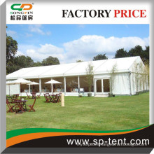 County wedding ceremony Tent with row sitting chairs and stage