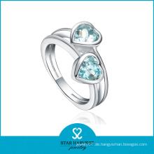 Klare Silber Kristall Finger Ring