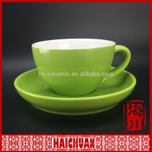 HCC ceramic cappucino coffee cup with saucer, fine quality stoneware coffee cup and saucer