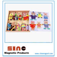 Seis ursos vestir roupas de mudança de madeira magnética brinquedos tridimensionais