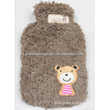 Hot sale 750ml soft plush lovely fleece hot water bottle cover