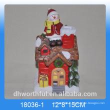 Décoration de Noël en céramique en forme de maison avec LED