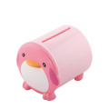 Diseño de dibujos animados forma pingüino caja de plástico de tejido