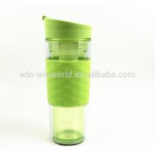 Frasco de pared doble aislado vacío plástico de la botella de agua de la promoción, taza del viaje 360ml