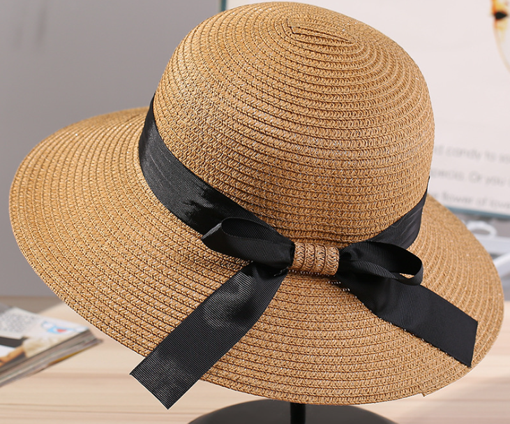 Big Brim Satin Butterfly Mujeres Paper Straw Hat