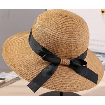 Big Brim Satin Butterfly Women Paper Straw Hat