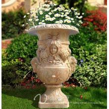 Grand pot de marbre de jardin noble de style noble
