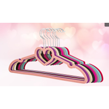 velvet flocked hangers for clothes with heart shape tie bar