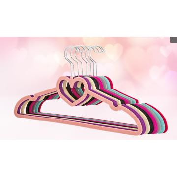 veludo flocado cabides para roupas com barra de laço de forma de coração
