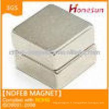 N52 bloc, aimant néodyme 50x50x12.5mm Ni enduit