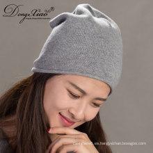 Unisex a rayas suave cálido personalizado ganchillo hecho punto Fleececashmere Beanie Hat