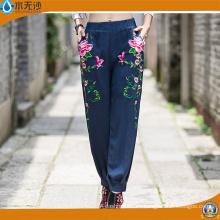 Pantalones ocasionales del algodón de la manera de los pantalones del bordado de la manera de las mujeres del OEM