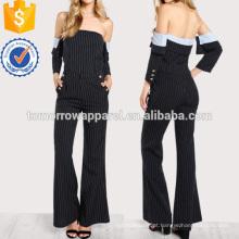 Listrado Fora Do Ombro Top E Calça Set Fabricação Atacado Moda Feminina Vestuário (TA4104SS)