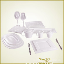 15 PCS White Porcelain Tableware Set Embossed Pearl Series