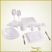 15 шт. Набор столовой посуды из белого фарфора с тисненой перламутровой серией
