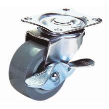 PU girável de 3 polegadas com porta leve com rodízio de freio lateral