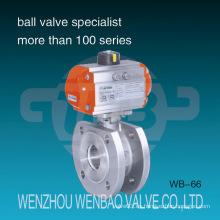Válvula de bola neumática accionada Italia Tipo Wafer de acero inoxidable CF8
