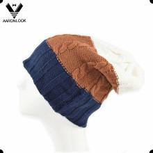 Unisex Acrylic Fashion Stripe Cable Knit Beanie