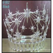 Pageant Casamento Jóias de Prata Tiara Grande Rhinestone Crown noiva por atacado Tiara Girls