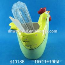 Support d'ustensile en céramique de haute qualité avec forme de coq
