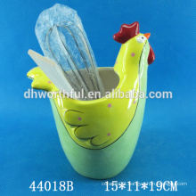 High quality ceramic utensil holder with cock shape