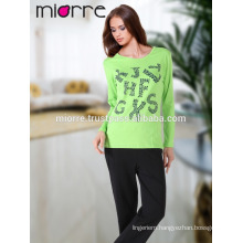 MIORRE OEM Turkish Cotton Quality Cute Pistachio Color Printed Sleepwear Pajamas Set
