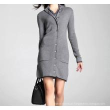 15PKCAS04 Jovem senhora novo inverno grosso quente 100% cashmere cardigan casaco