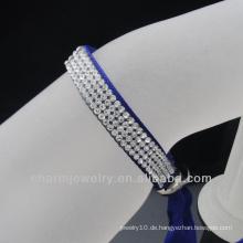 Großhandel 4 Reihen Kristall Satin Ribbon Armreifen 2014 Klammern für Leder Armband