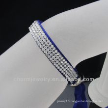 Wholesale 4 rows Crystal Satin Ribbon bangles 2014 clasps for leather bracelet
