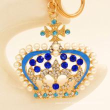 2015 Porte-clés de promotion en cristal de strass perle métal Porte-clés de la couronne en gros
