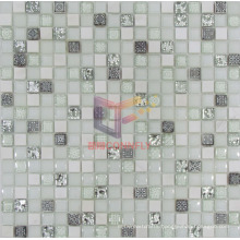15*15*8mm White Resin Stone and Crystal Mosaic Tile (CSR073)