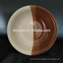 cuenco de ensalada de fideos de cerámica de borde redondo