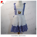 Latest Bule Check Embroidered Party Dress For Girls