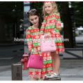 2017 Novo Modelo de Natal Frock Designs Pai Natal Veados Impressos Mamãe E Me Combinando Roupas Mãe E Criança Vestido