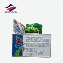 Rectangle soft enamel couple running medal