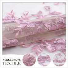 Tissu chinois de dentelle de broderie de mariage de polyester de concepteur
