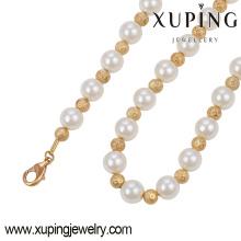 Mode élégant 18k collier de bijoux de couleur or avec perle perles-42930