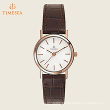 Women′s Stainless Steel Watch with Brown Leather Band 71202