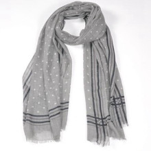 Meilleur mode femmes aiment gris couleur imprimé pois 180 * 70 cm de long large Cachemire laine châle laine mérinos écharpe
