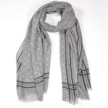 Melhor moda feminina amor cinza cor impressão bolinhas 180 * 70 cm longo tamanho grande cashmere lã xale lã cachecol merino