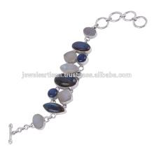 Labradorit und Multi Edelstein 925 Sterling Silber Armband Schmuck