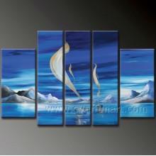 Pintura a óleo pintada mão do Seascape na lona