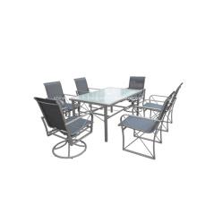 Toile extérieure mobilier 7pc dînant ensemble - 2 * 1 textilene