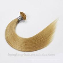 Extensión de cabello de queratina italiana Fusión de frío U punta Extensión de cabello humano