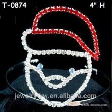 Venta al por mayor cabello Kid's accesorios rojo Rhinestone Navidad Pageant Crown
