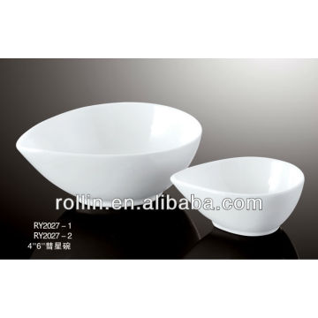 Hotel and restaurant used Korean style raindrop shape white fine porcelain bowl, graceful comet bowl