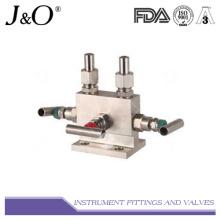 Manivela de instrumento de válvula de aço inoxidável de 3 vias